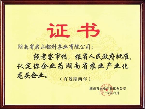 2016年湖南省农业产业化龙头企业